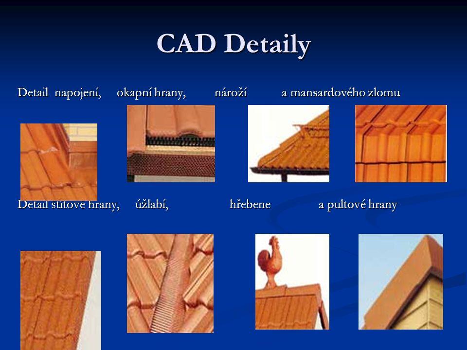 CAD Detaily Detail napojení, okapní hrany, nároží a mansardového zlomu