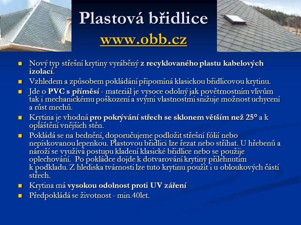 Plastová břidlice www.obb.cz