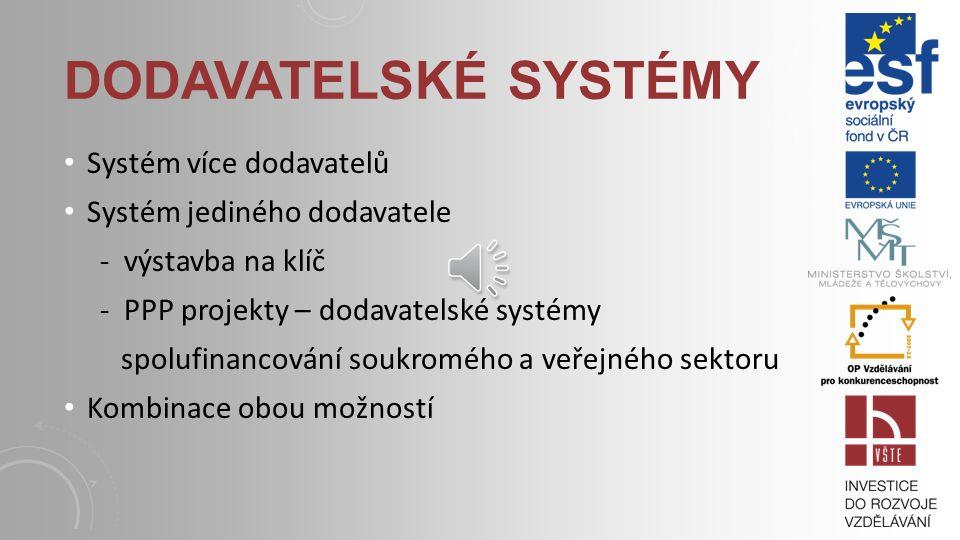 Dodavatelské systémy Systém více dodavatelů Systém jediného dodavatele