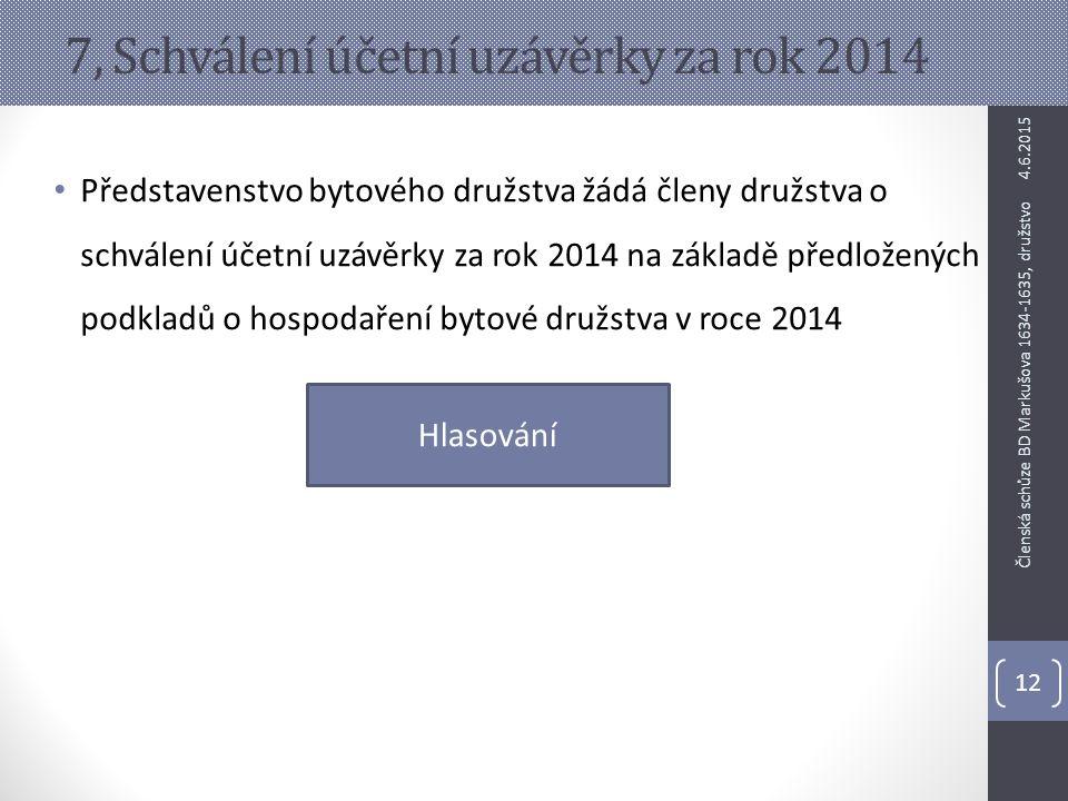 7, Schválení účetní uzávěrky za rok 2014