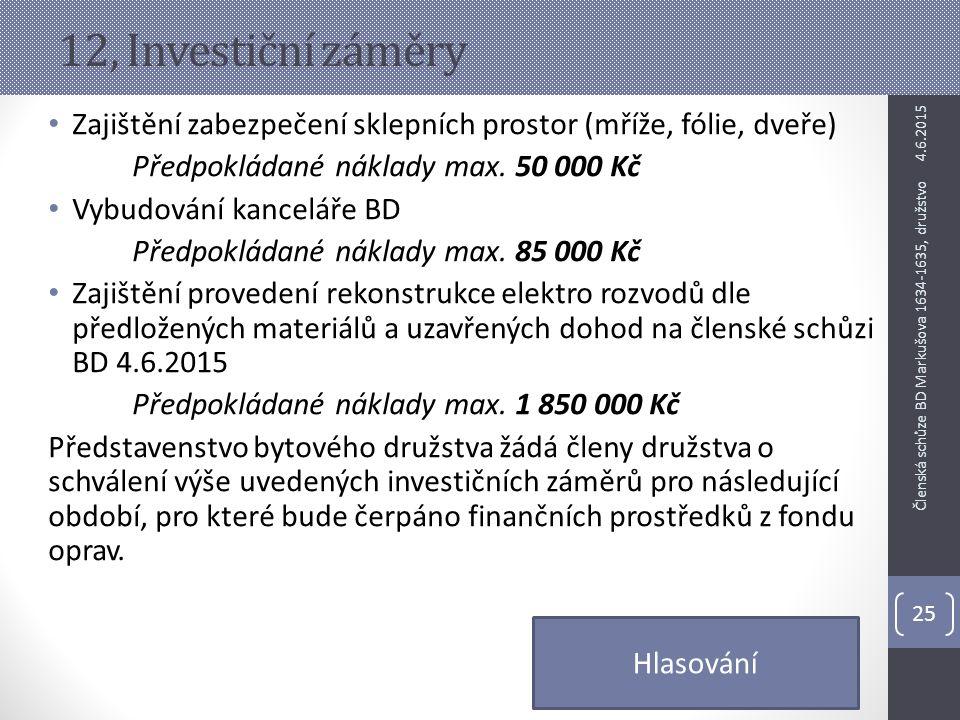 12, Investiční záměry Zajištění zabezpečení sklepních prostor (mříže, fólie, dveře) Předpokládané náklady max. 50 000 Kč.