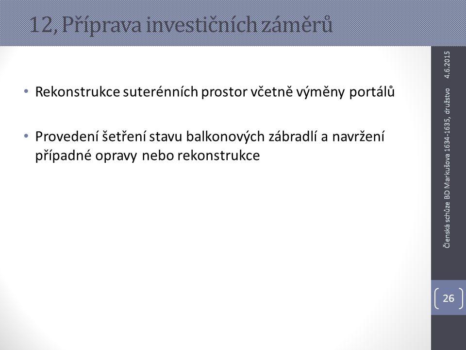 12, Příprava investičních záměrů