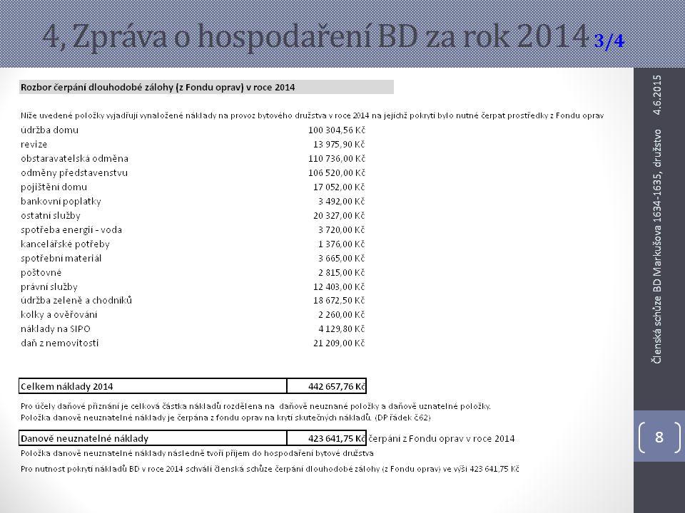 4, Zpráva o hospodaření BD za rok 2014 3/4