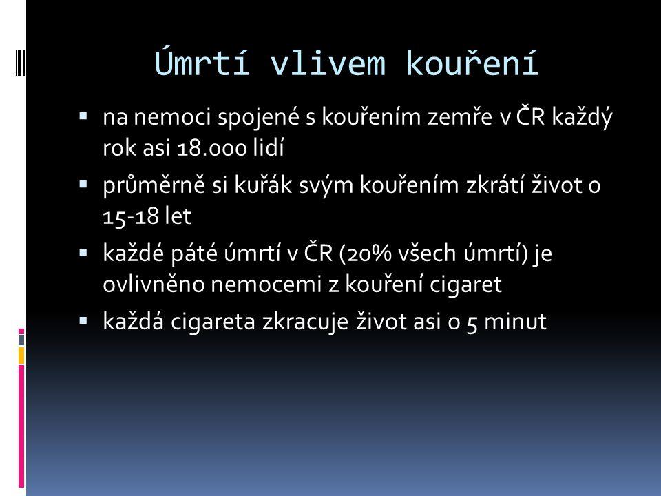 Úmrtí vlivem kouření na nemoci spojené s kouřením zemře v ČR každý rok asi 18.000 lidí. průměrně si kuřák svým kouřením zkrátí život o 15-18 let.
