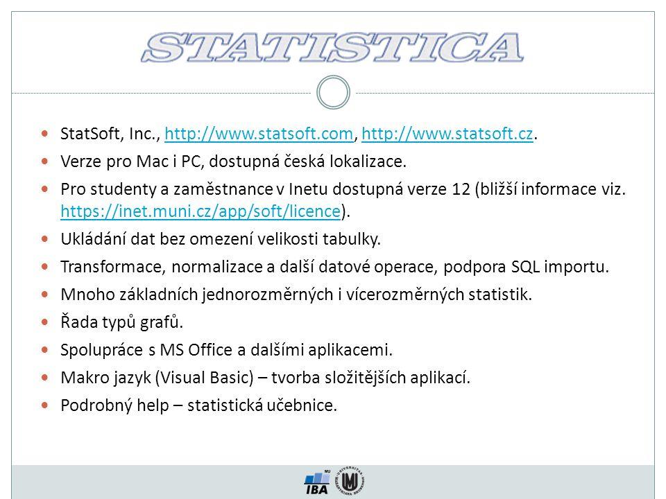 StatSoft, Inc., http://www.statsoft.com, http://www.statsoft.cz.