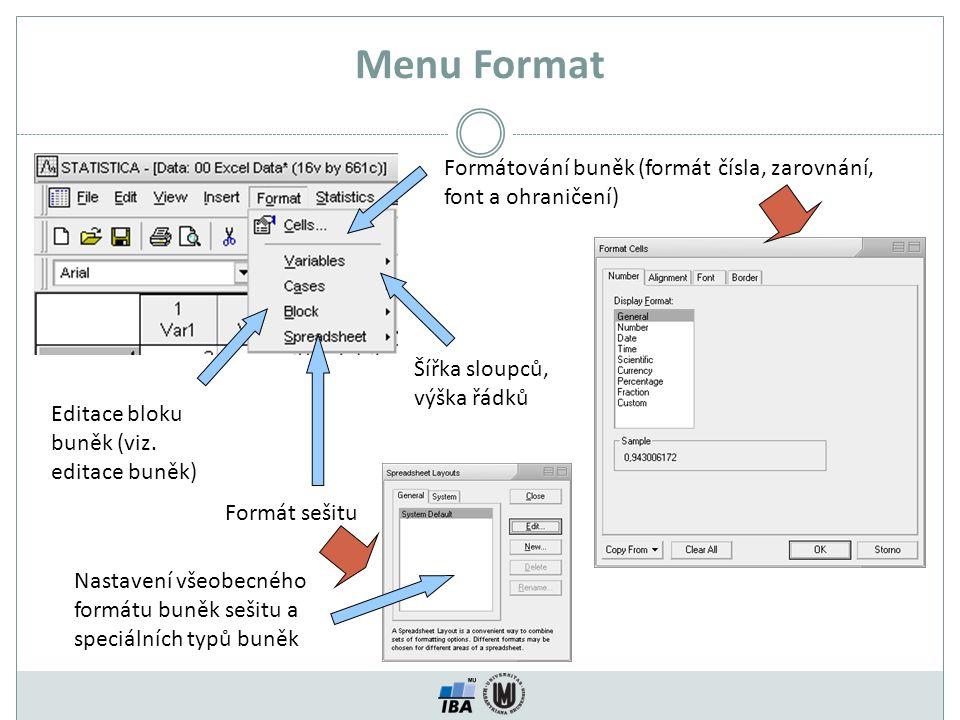 Menu Format Formátování buněk (formát čísla, zarovnání, font a ohraničení) Šířka sloupců, výška řádků.