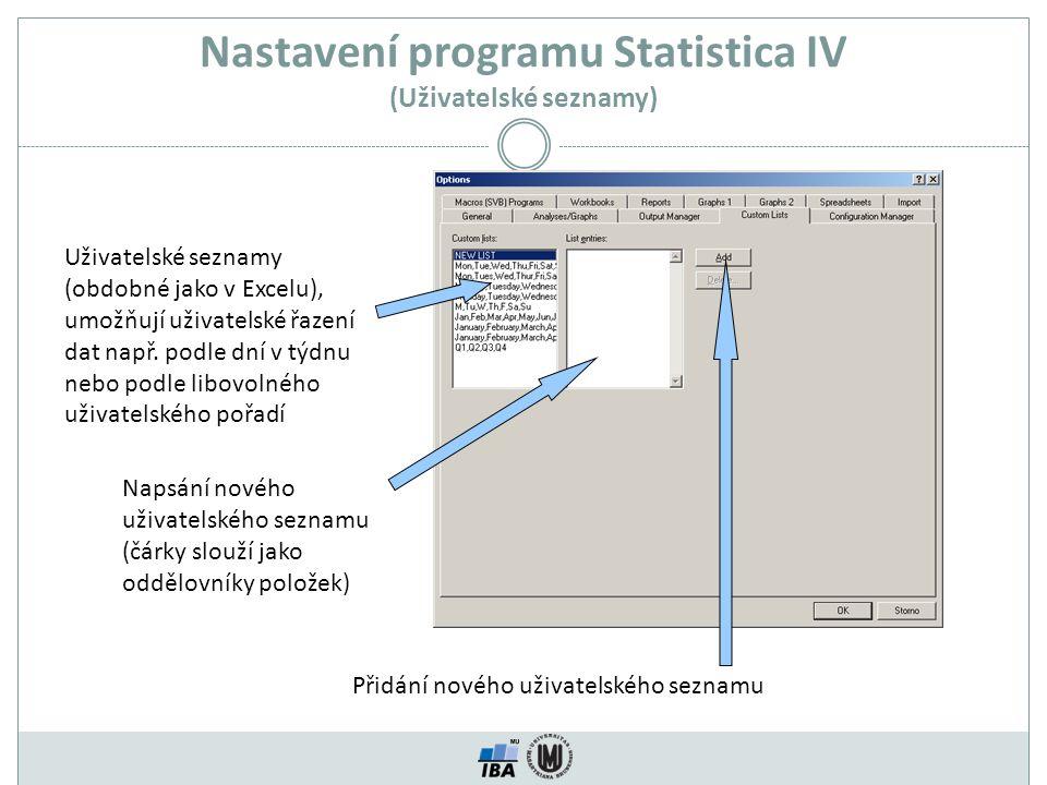 Nastavení programu Statistica IV (Uživatelské seznamy)