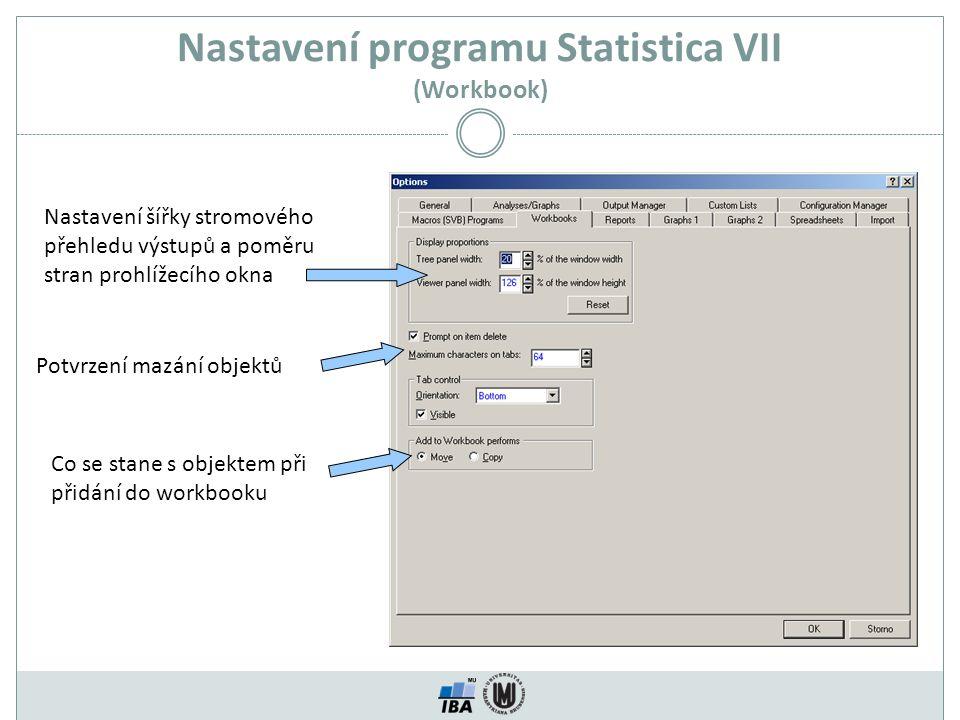 Nastavení programu Statistica VII (Workbook)
