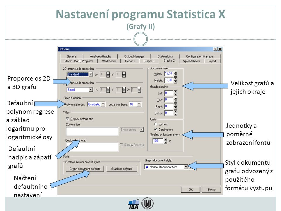 Nastavení programu Statistica X (Grafy II)
