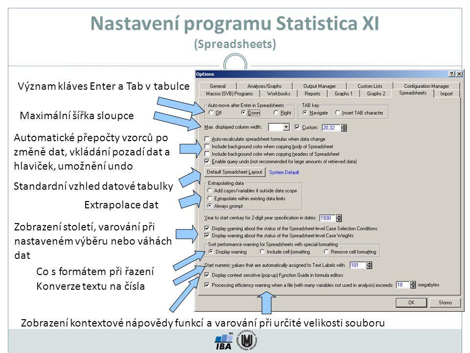 Nastavení programu Statistica XI (Spreadsheets)
