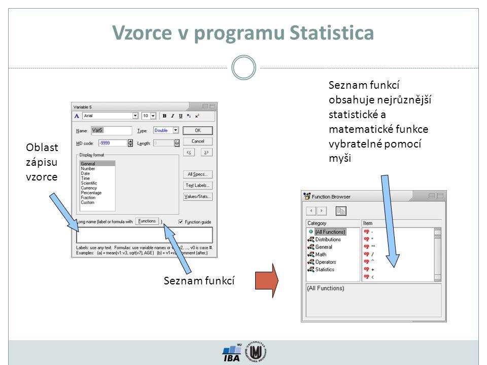 Vzorce v programu Statistica