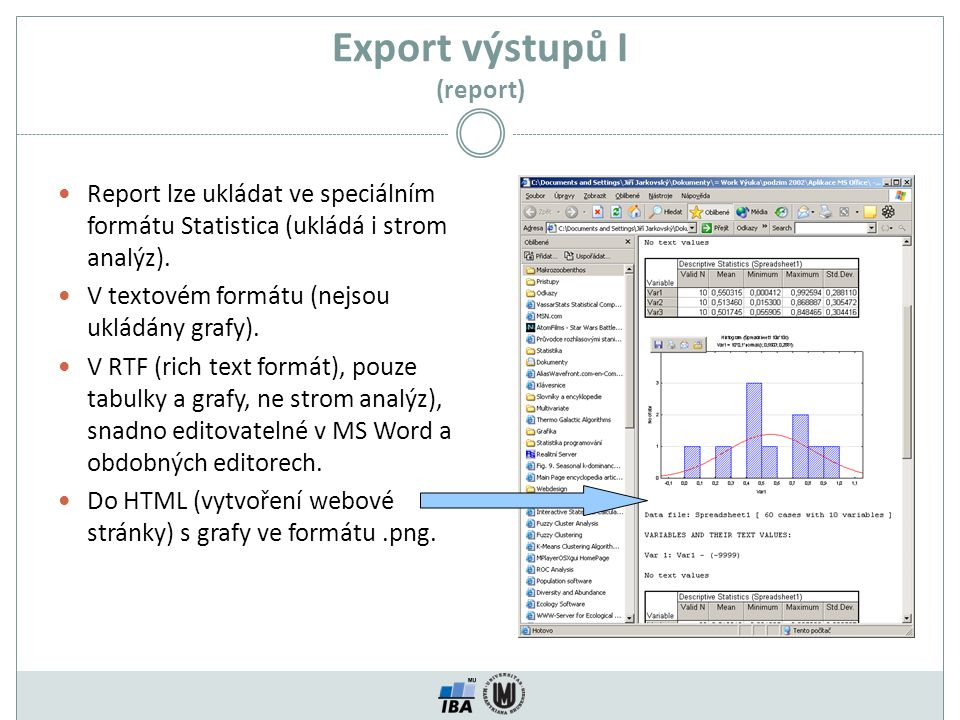 Export výstupů I (report)