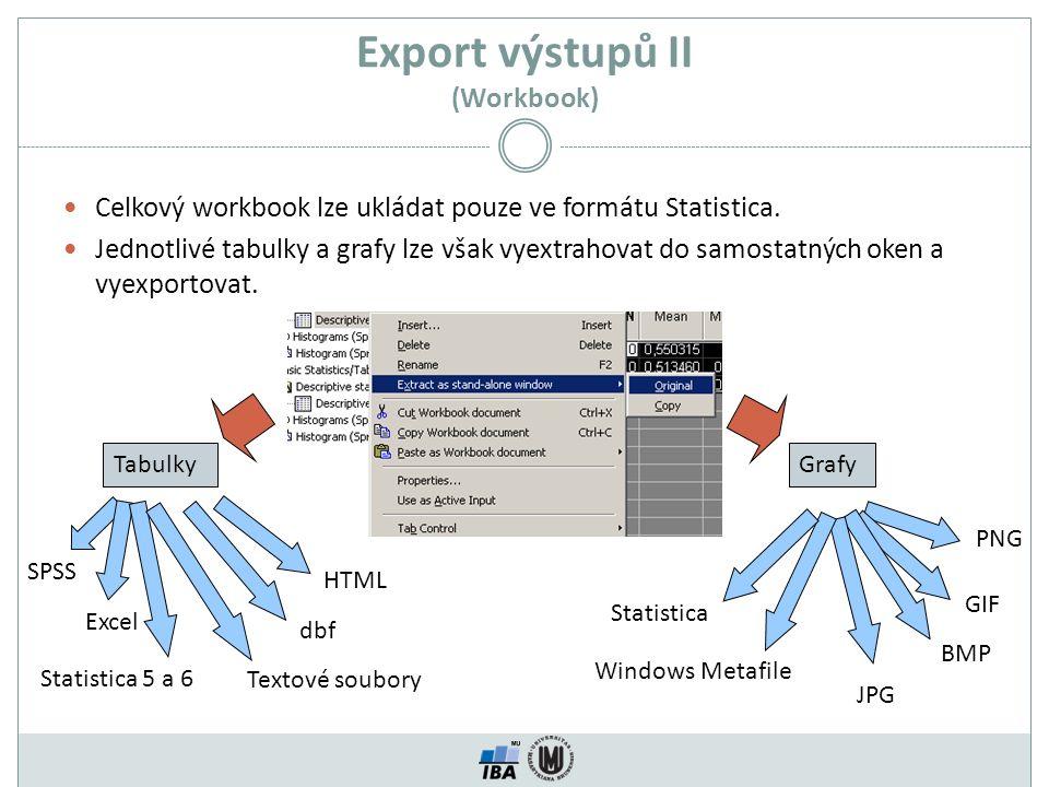 Export výstupů II (Workbook)