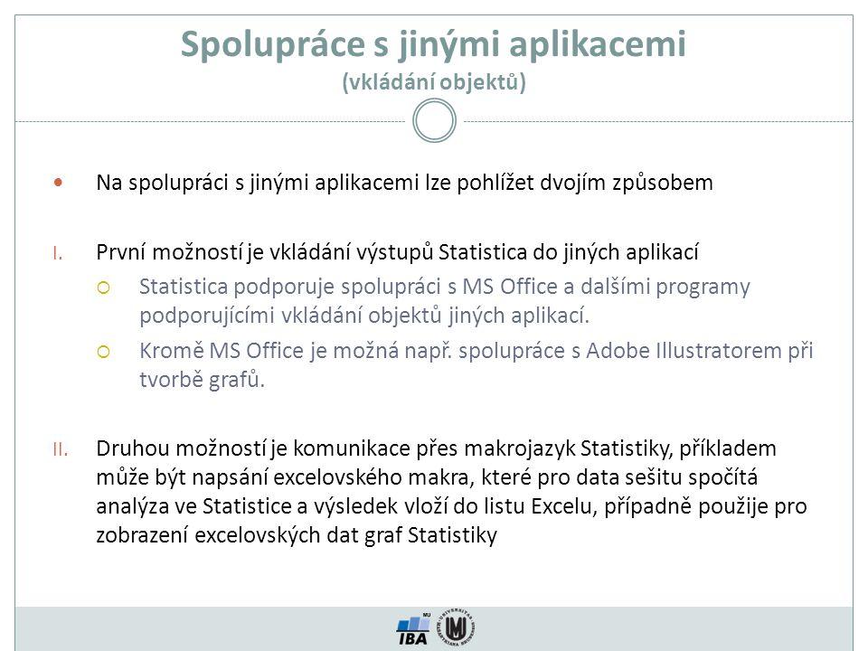 Spolupráce s jinými aplikacemi (vkládání objektů)