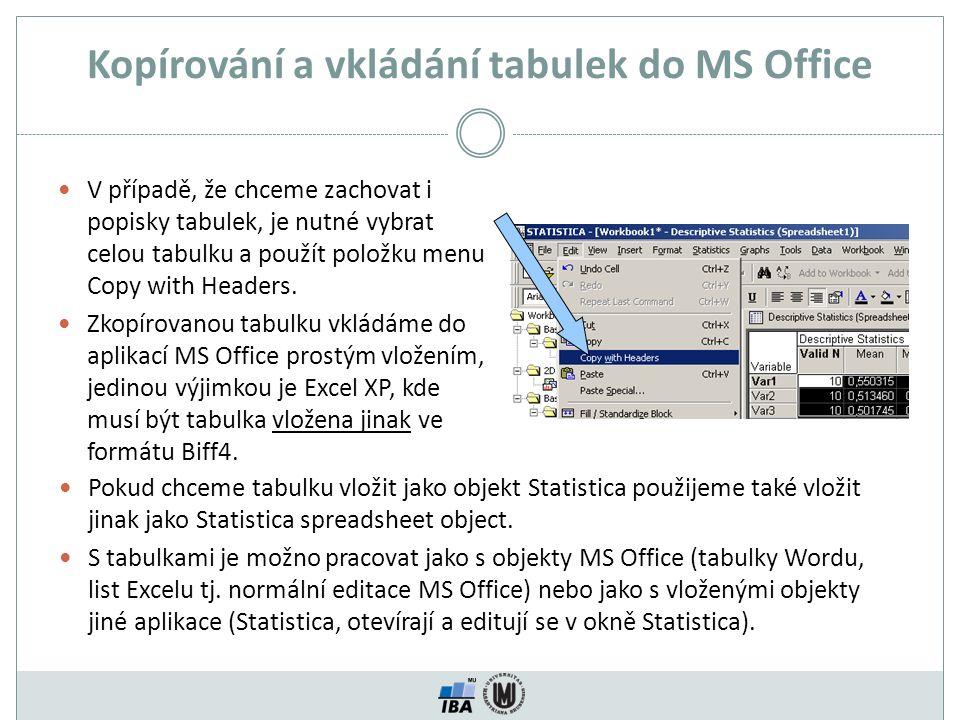 Kopírování a vkládání tabulek do MS Office