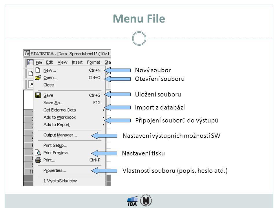 Menu File Nový soubor Otevření souboru Uložení souboru