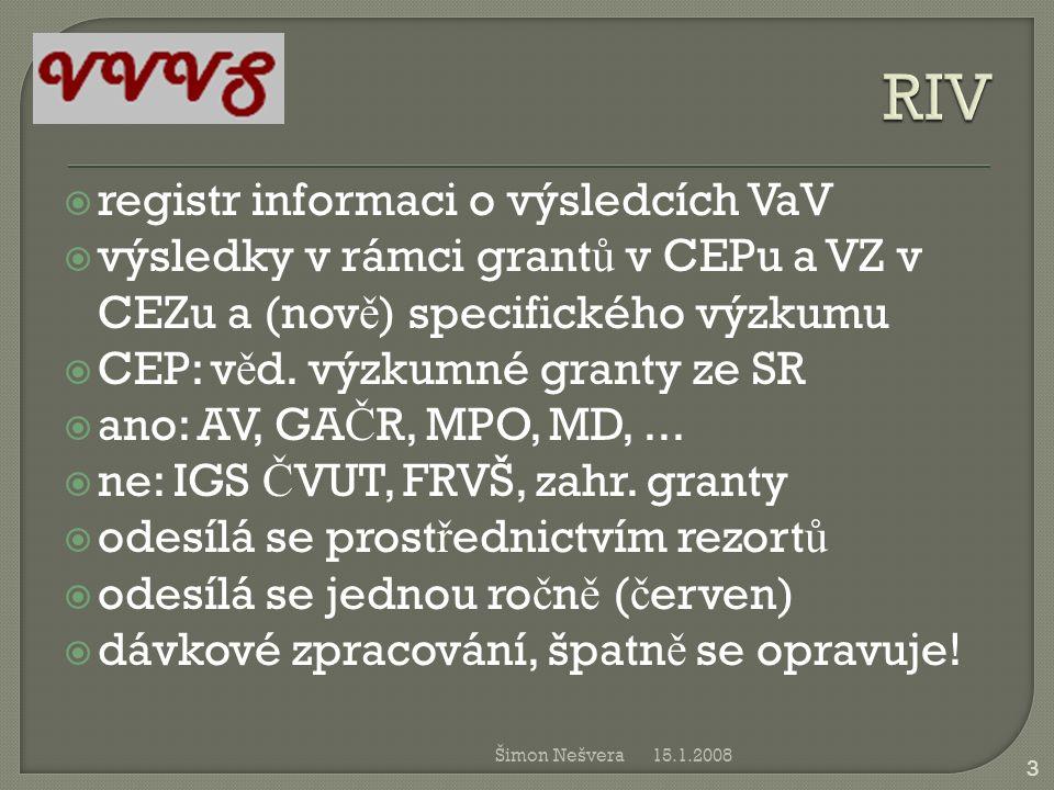 RIV registr informaci o výsledcích VaV