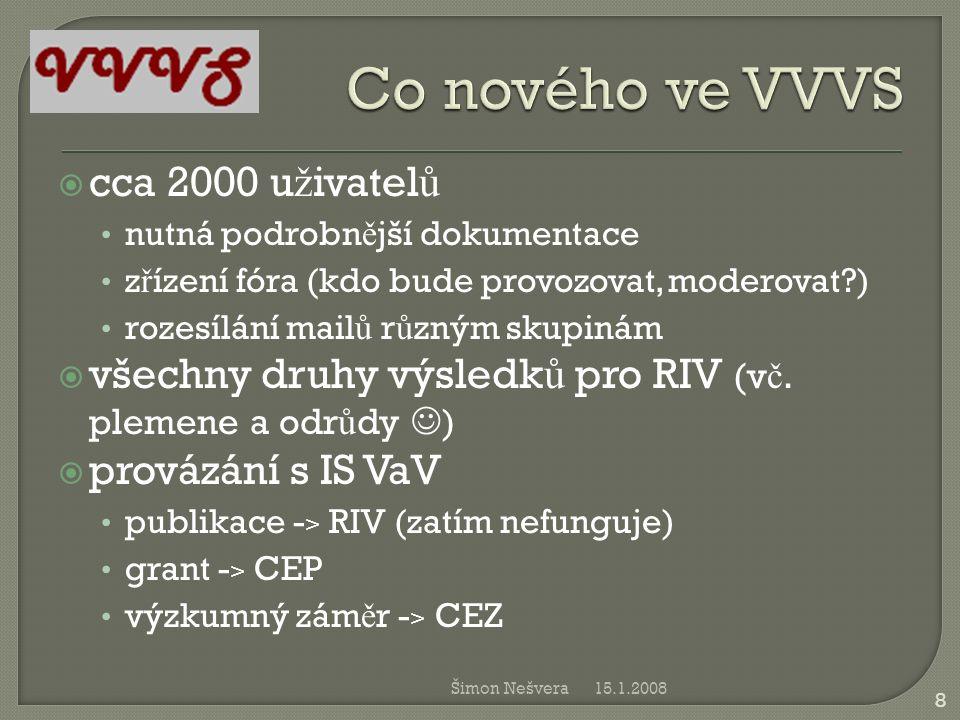 Co nového ve VVVS cca 2000 uživatelů