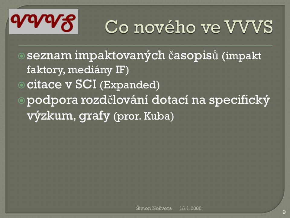 Co nového ve VVVS seznam impaktovaných časopisů (impakt faktory, mediány IF) citace v SCI (Expanded)