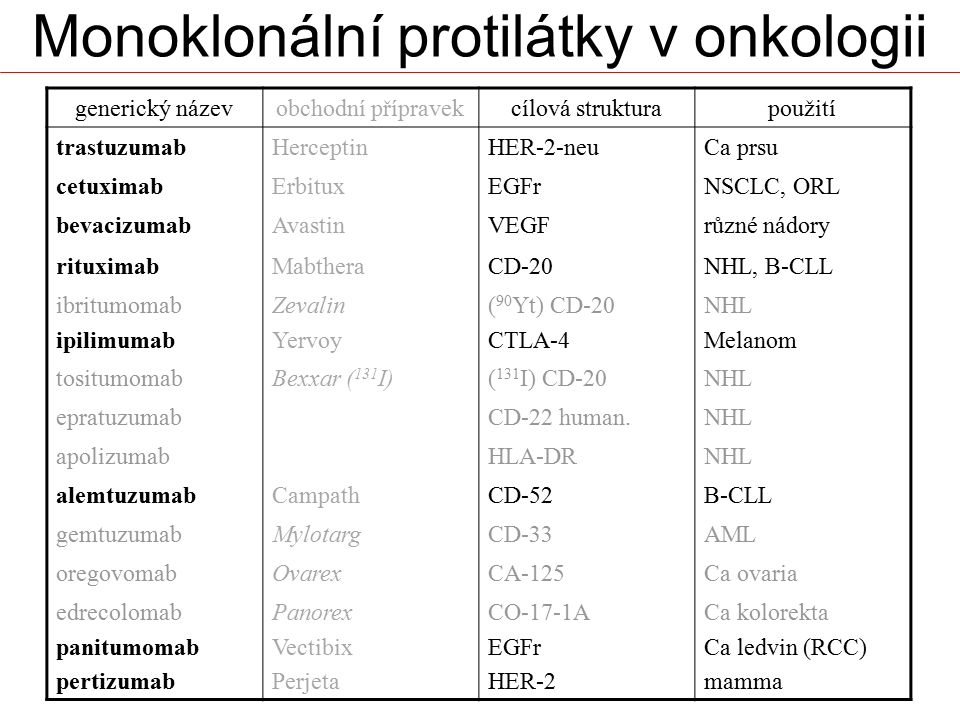 Monoklonální protilátky v onkologii