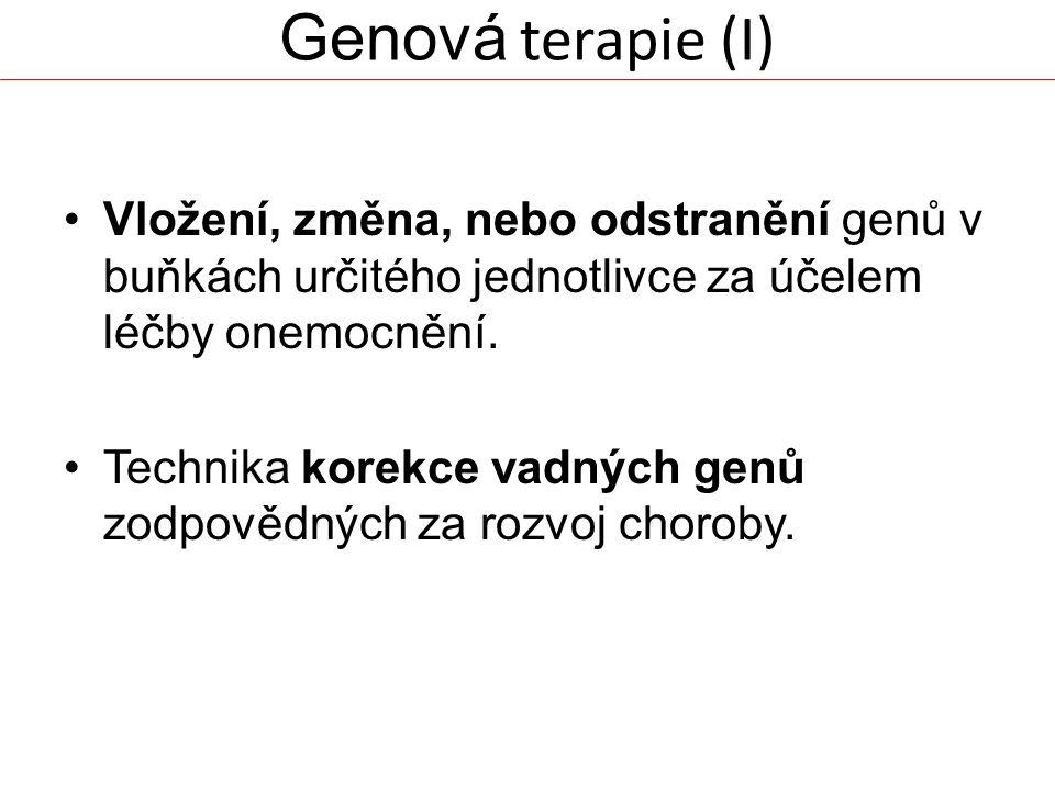 Genová terapie (I) Vložení, změna, nebo odstranění genů v buňkách určitého jednotlivce za účelem léčby onemocnění.