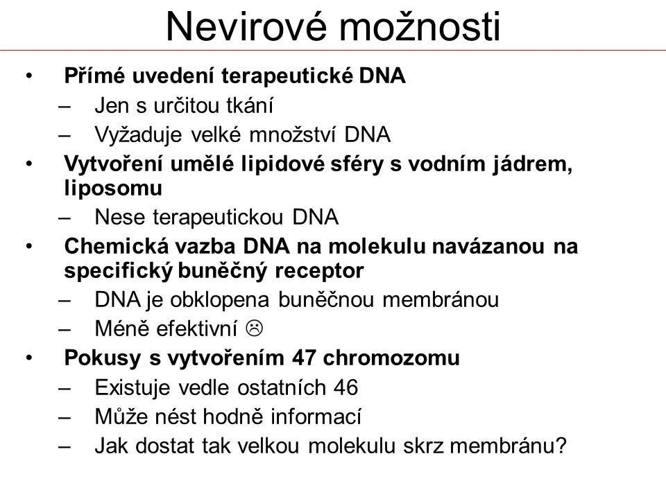Nevirové možnosti Přímé uvedení terapeutické DNA Jen s určitou tkání