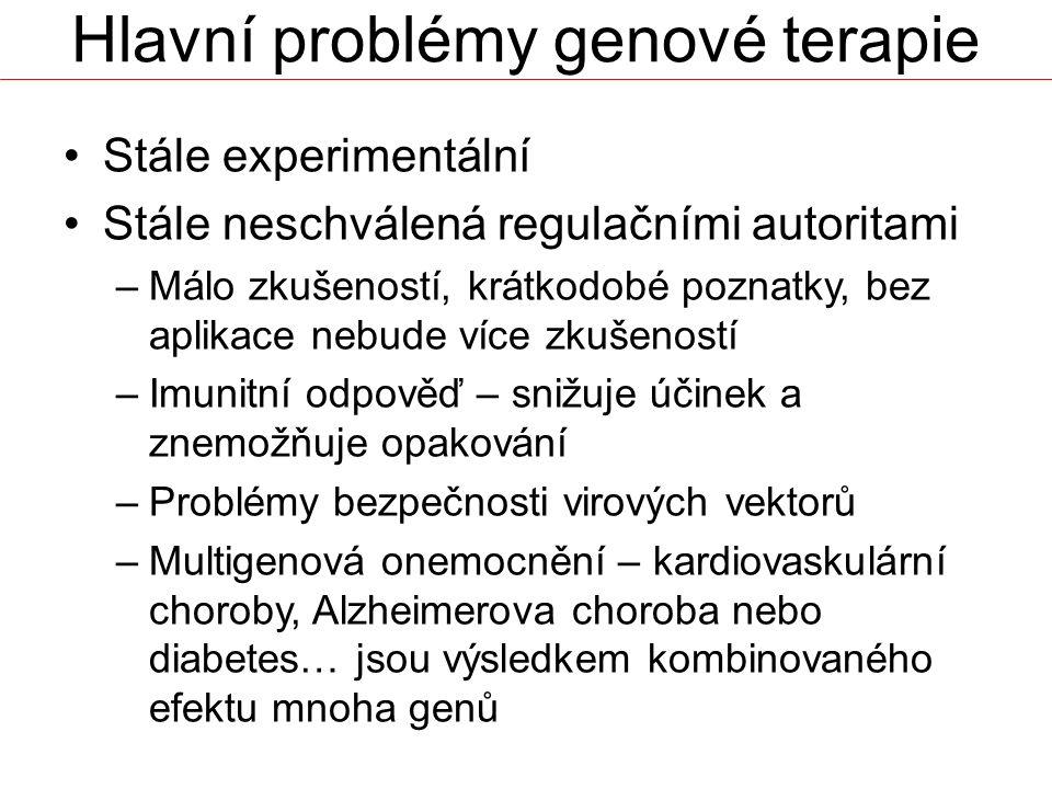 Hlavní problémy genové terapie