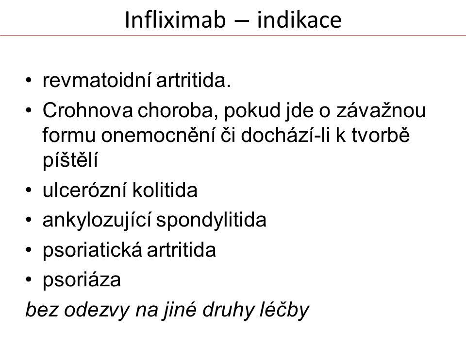 Infliximab – indikace revmatoidní artritida.