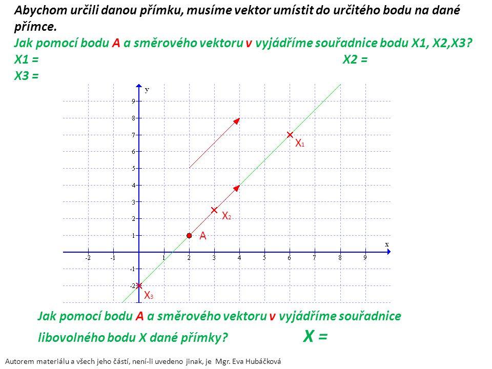 Abychom určili danou přímku, musíme vektor umístit do určitého bodu na dané přímce. Jak pomocí bodu A a směrového vektoru v vyjádříme souřadnice bodu X1, X2,X3 X1 = X2 = X3 =