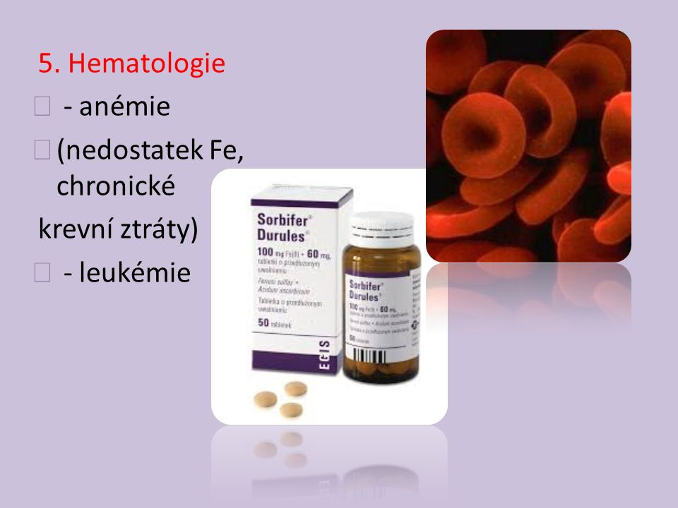 5. Hematologie - anémie (nedostatek Fe, chronické krevní ztráty) - leukémie