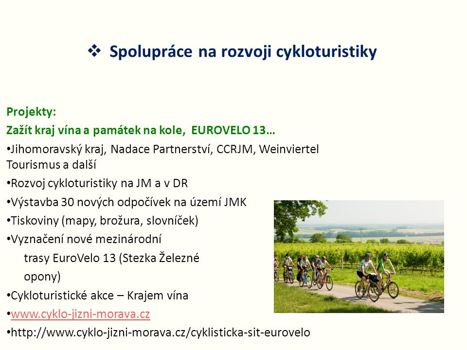 Spolupráce na rozvoji cykloturistiky