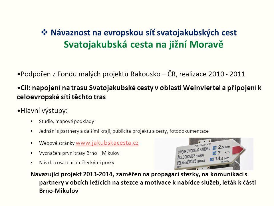 Návaznost na evropskou síť svatojakubských cest Svatojakubská cesta na jižní Moravě