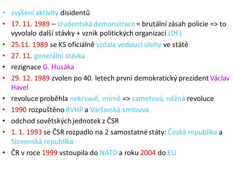zvýšení aktivity disidentů