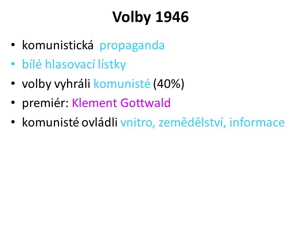 Volby 1946 komunistická propaganda bílé hlasovací lístky