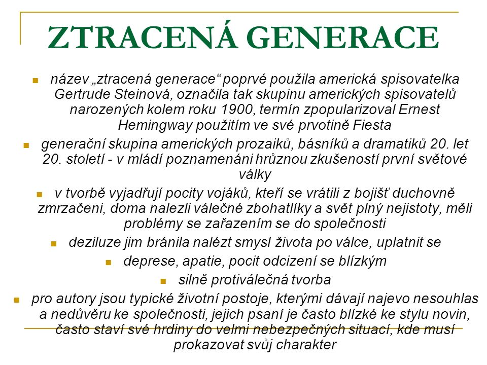 ZTRACENÁ GENERACE