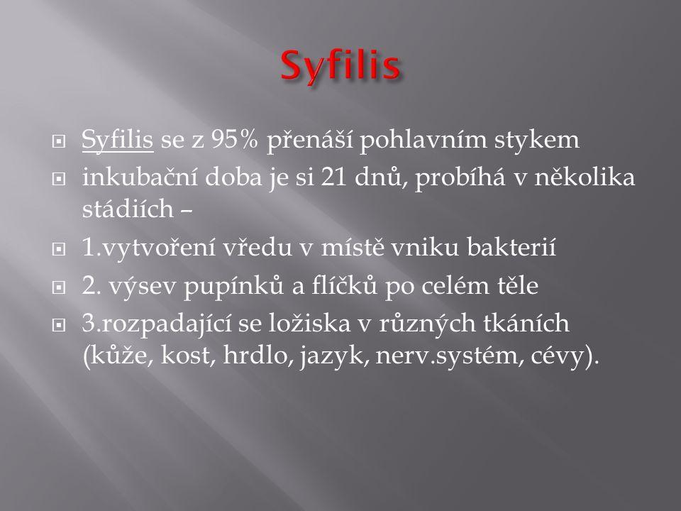 Syfilis Syfilis se z 95% přenáší pohlavním stykem