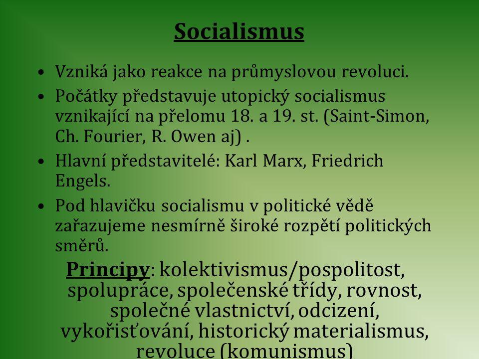 Socialismus Vzniká jako reakce na průmyslovou revoluci.