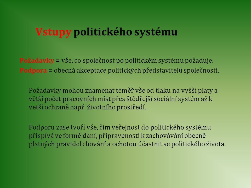 Vstupy politického systému