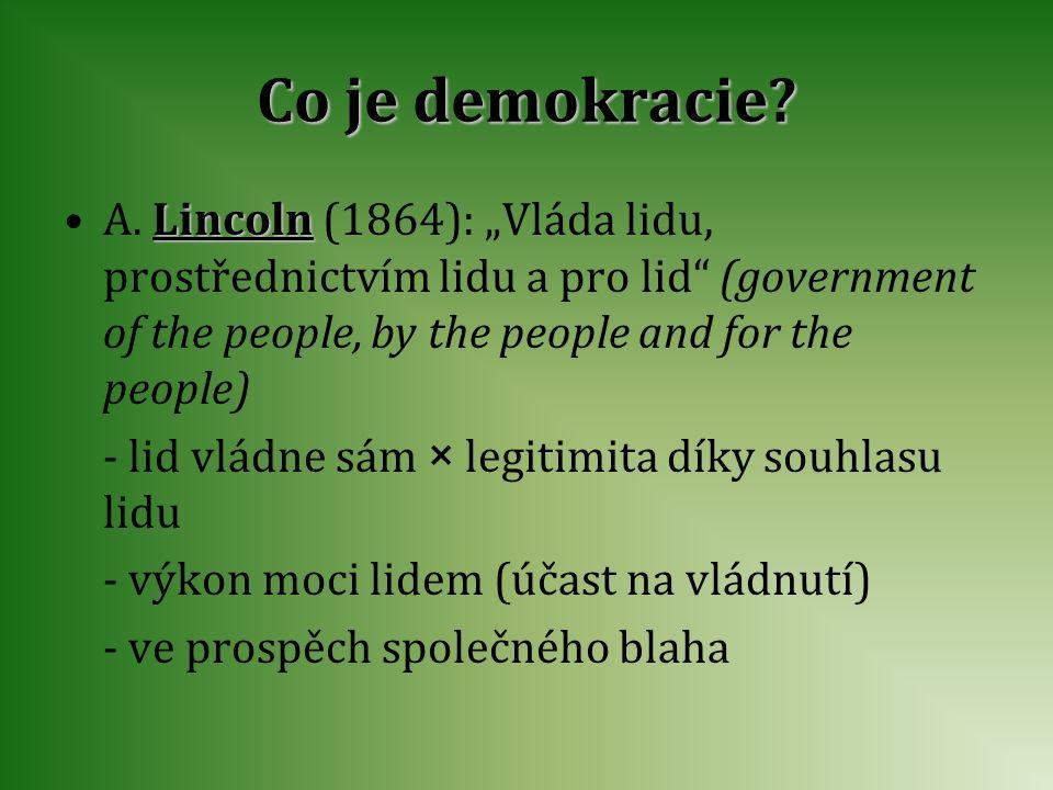 "Co je demokracie A. Lincoln (1864): ""Vláda lidu, prostřednictvím lidu a pro lid (government of the people, by the people and for the people)"