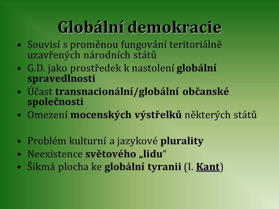Globální demokracie Souvisí s proměnou fungování teritoriálně uzavřených národních států. G.D. jako prostředek k nastolení globální spravedlnosti.