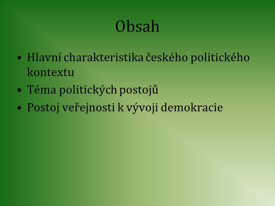 Obsah Hlavní charakteristika českého politického kontextu