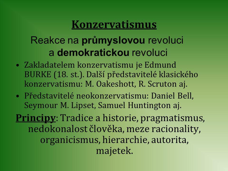 Konzervatismus Reakce na průmyslovou revoluci a demokratickou revoluci