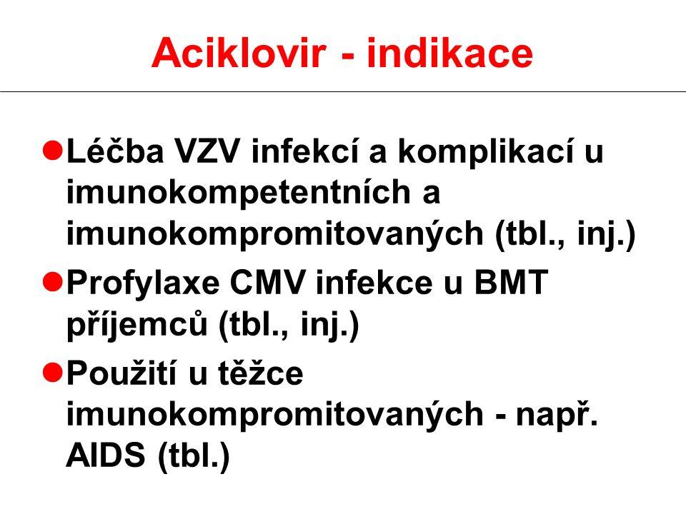 Aciklovir - indikace Léčba VZV infekcí a komplikací u imunokompetentních a imunokompromitovaných (tbl., inj.)
