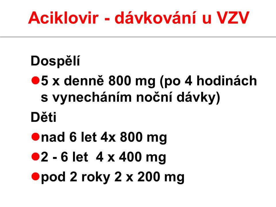 Aciklovir - dávkování u VZV