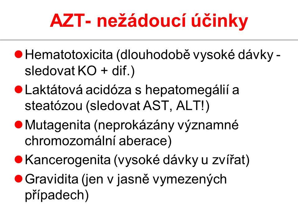 AZT- nežádoucí účinky Hematotoxicita (dlouhodobě vysoké dávky - sledovat KO + dif.)