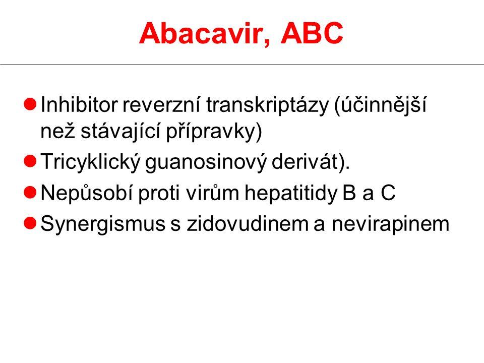 Abacavir, ABC Inhibitor reverzní transkriptázy (účinnější než stávající přípravky) Tricyklický guanosinový derivát).