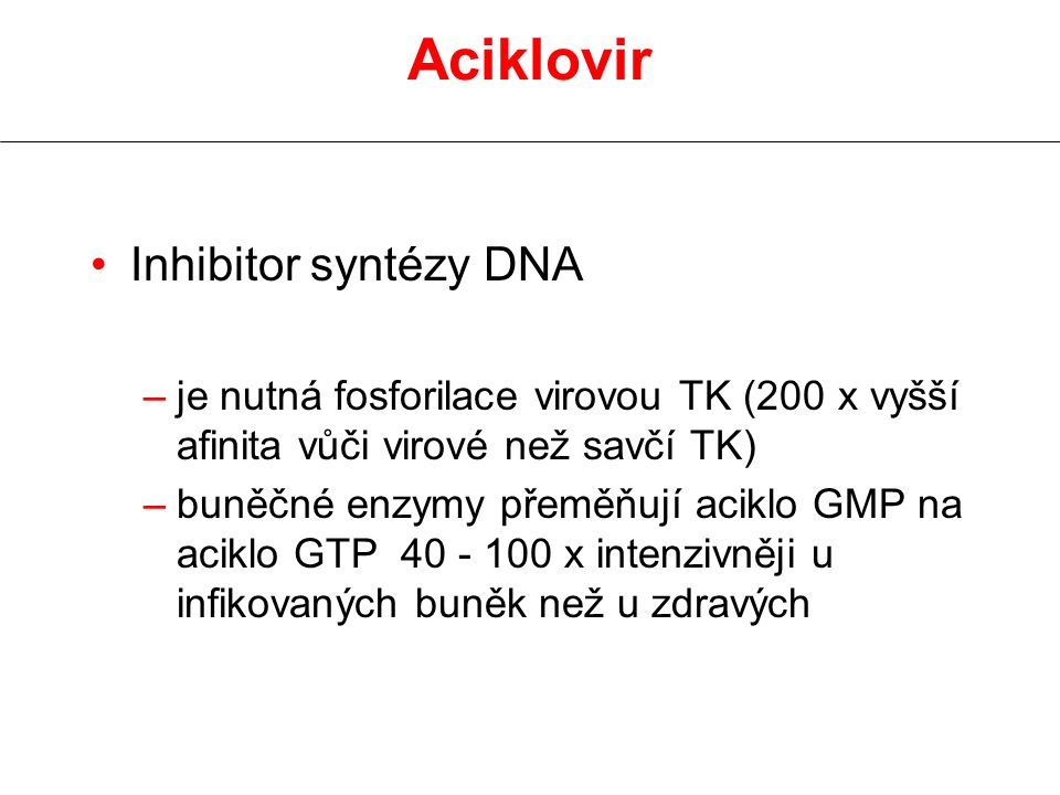Aciklovir Inhibitor syntézy DNA