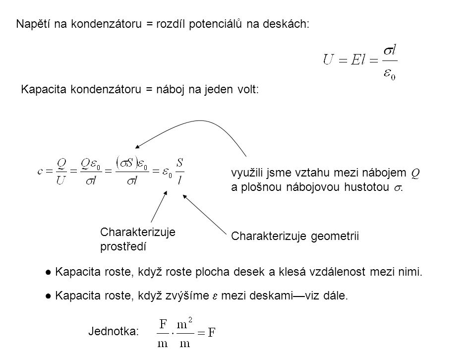 Napětí na kondenzátoru = rozdíl potenciálů na deskách: