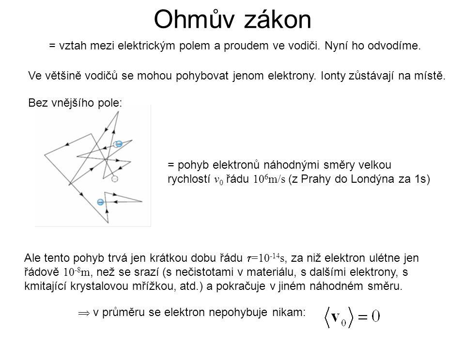 Ohmův zákon = vztah mezi elektrickým polem a proudem ve vodiči. Nyní ho odvodíme.
