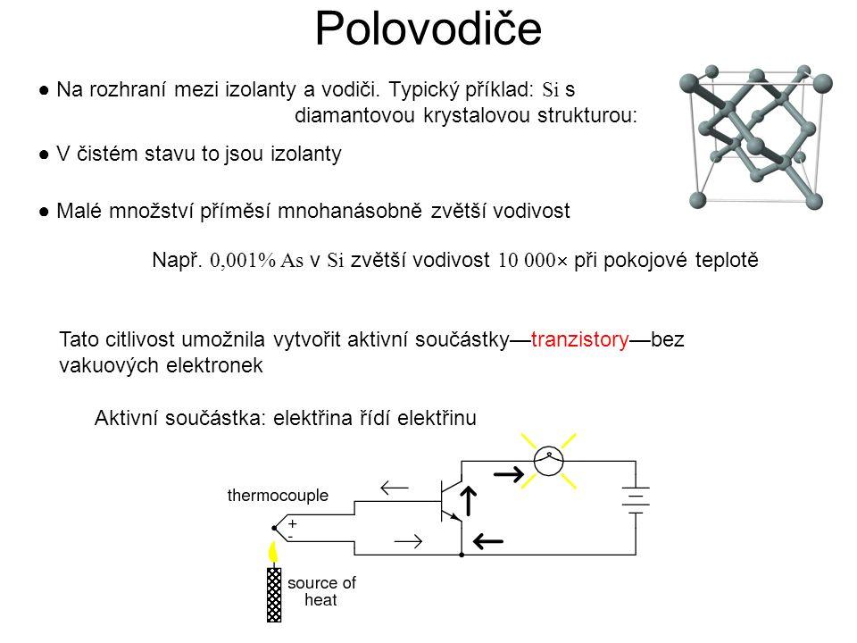 Polovodiče ● Na rozhraní mezi izolanty a vodiči. Typický příklad: Si s diamantovou krystalovou strukturou: